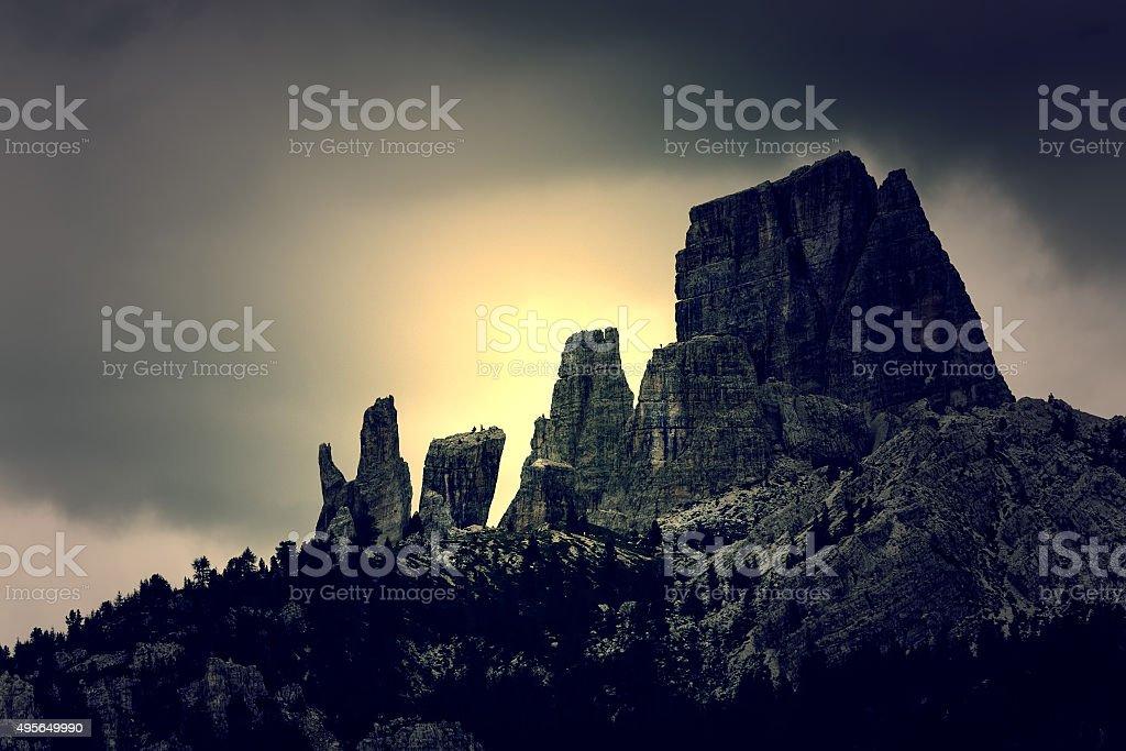 Cortina d'Ampezzo, Cinque torri view stock photo