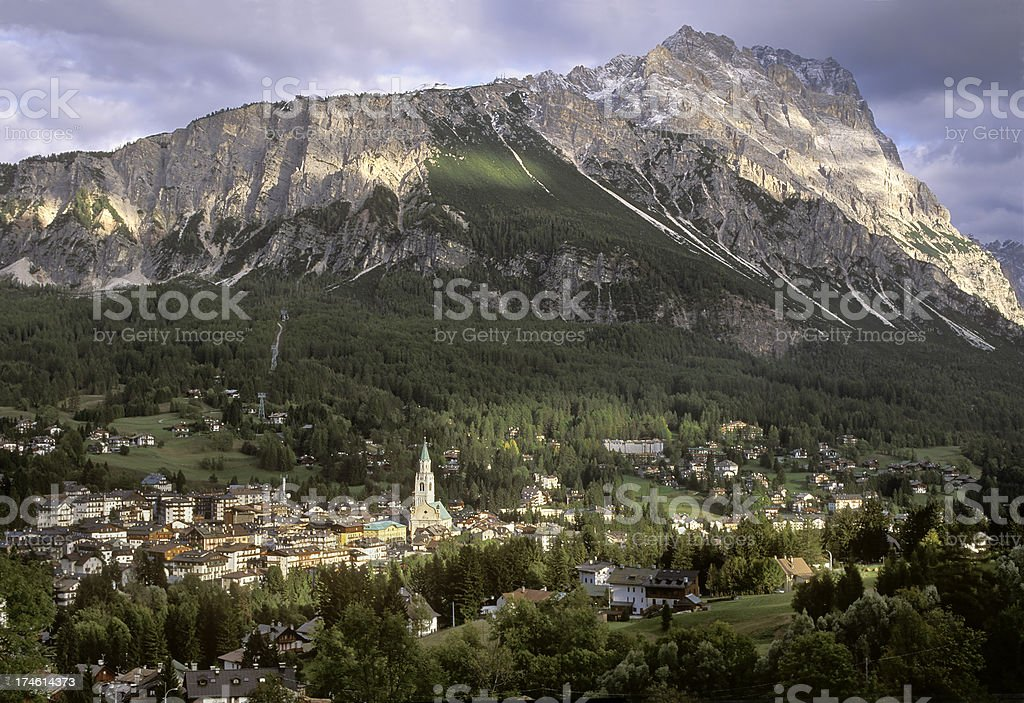 Cortina, Italy, and Dolomites Mountain Peak royalty-free stock photo