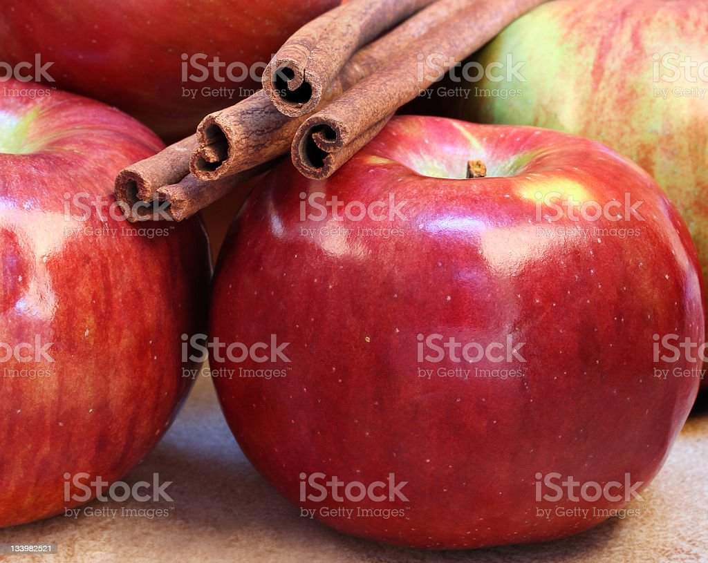 Cortland Apples and Cinnamon Sticks stock photo