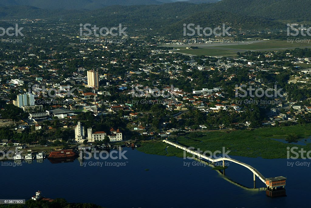 Corumbá town in the background and Paraguai river on foreground stock photo
