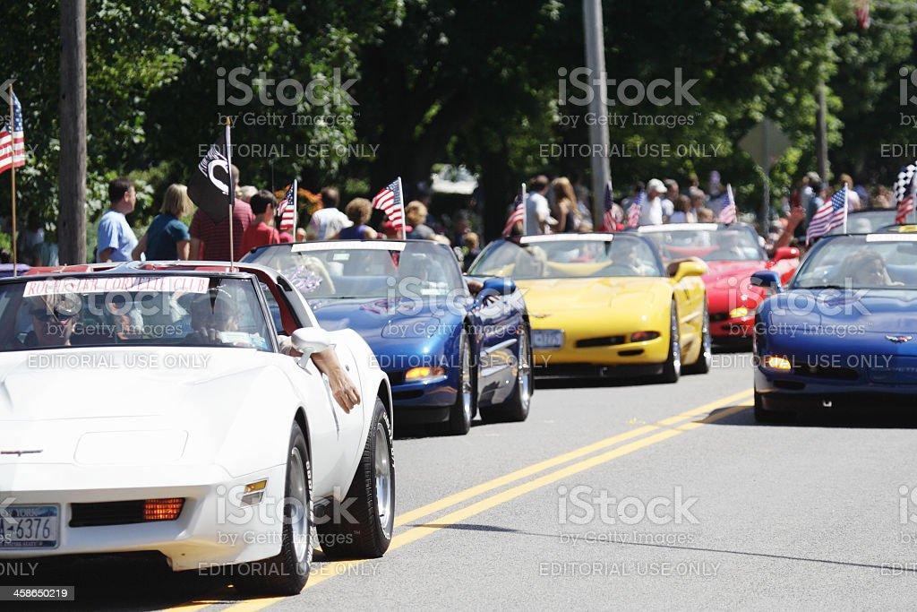 Corvette Chevrolets in July 4th Parade stock photo