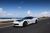 Corvette Cruising by the Beach