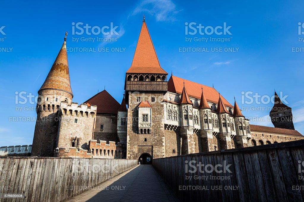 Corvin (Hunyadi) Castle in Hunedoara, Transylvania, Romania stock photo