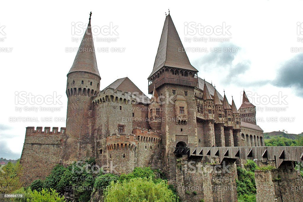 Corvinestilor castle, Hunedoara, Romania stock photo