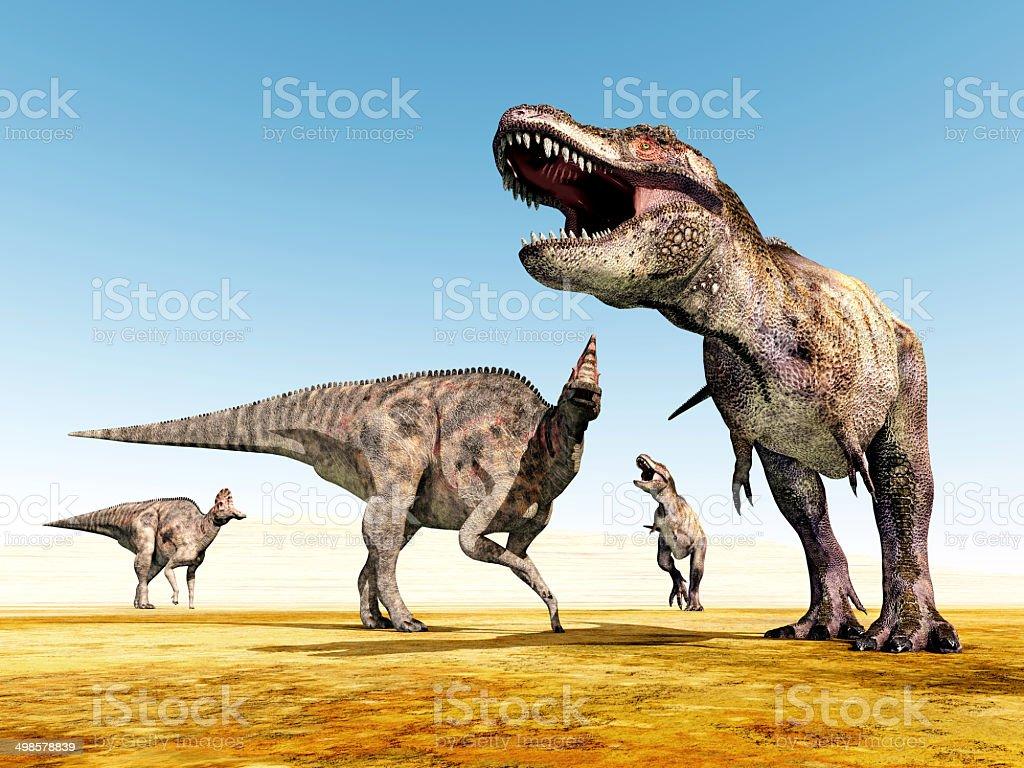 Corythosaurus and Tyrannosaurus Rex stock photo