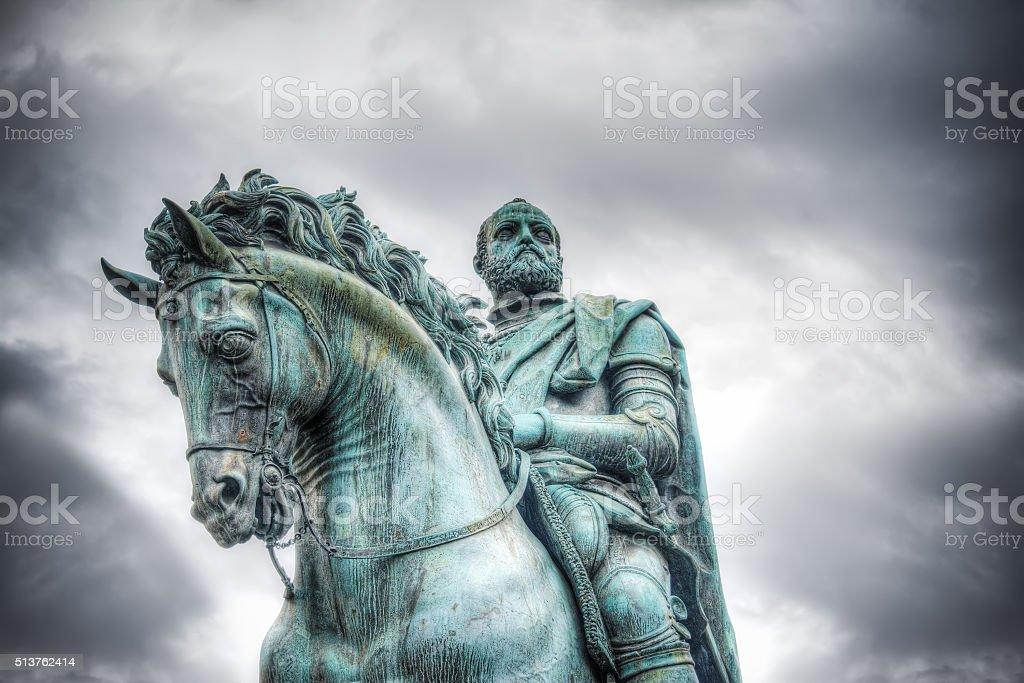 Cosimo I statue in Piazza della Signoria in Florence stock photo