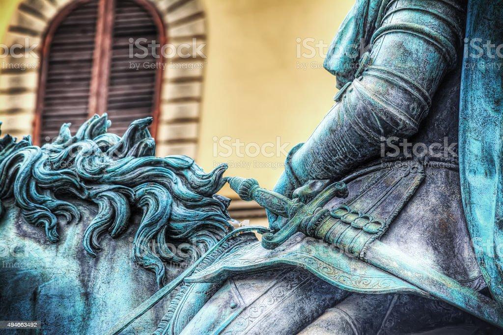 Cosimo I statue in Piazza della Signoria stock photo