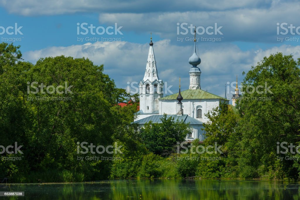 Cosmas and Damian Church in Suzdal stock photo