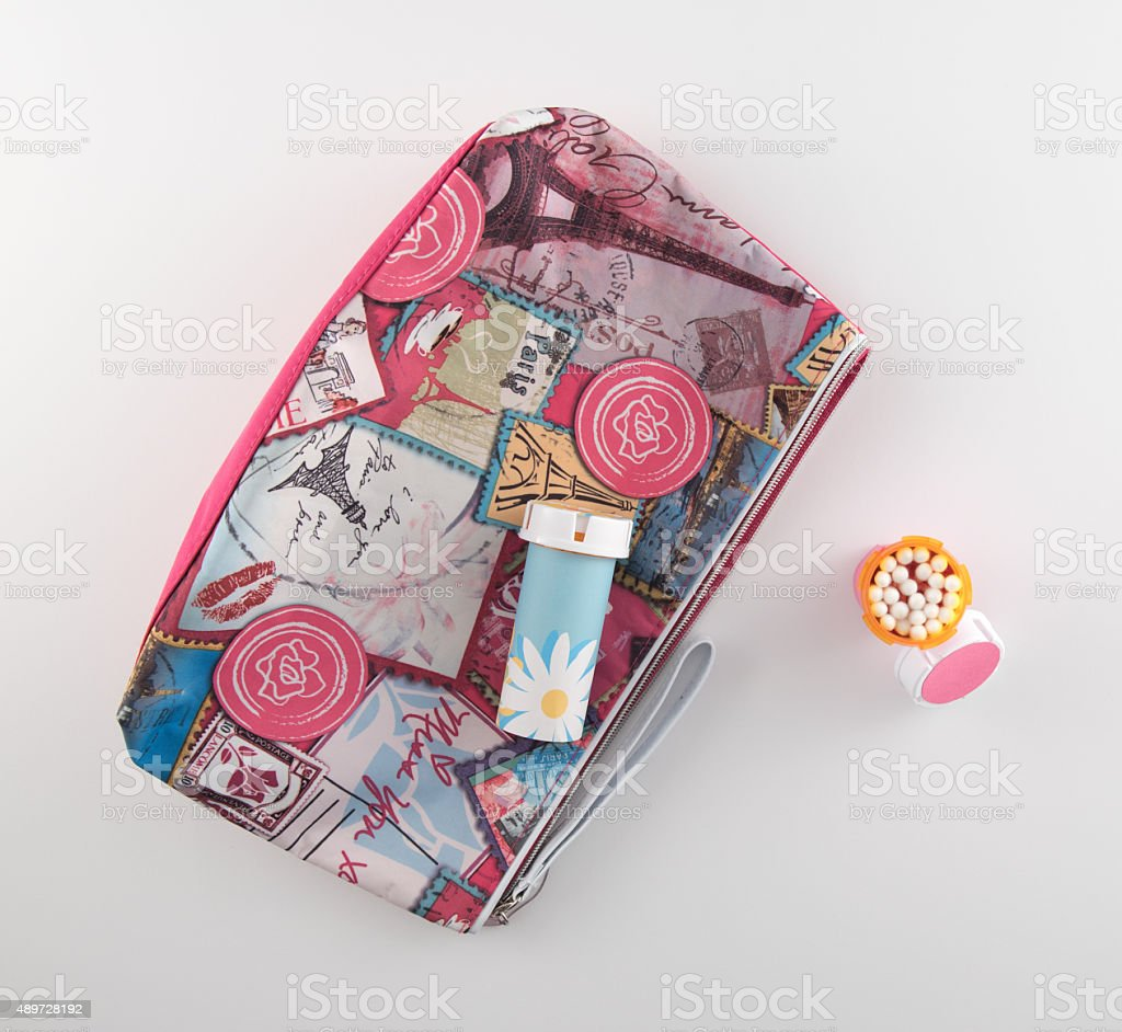Cosmetic Bag and Cotton Swab Holder stock photo