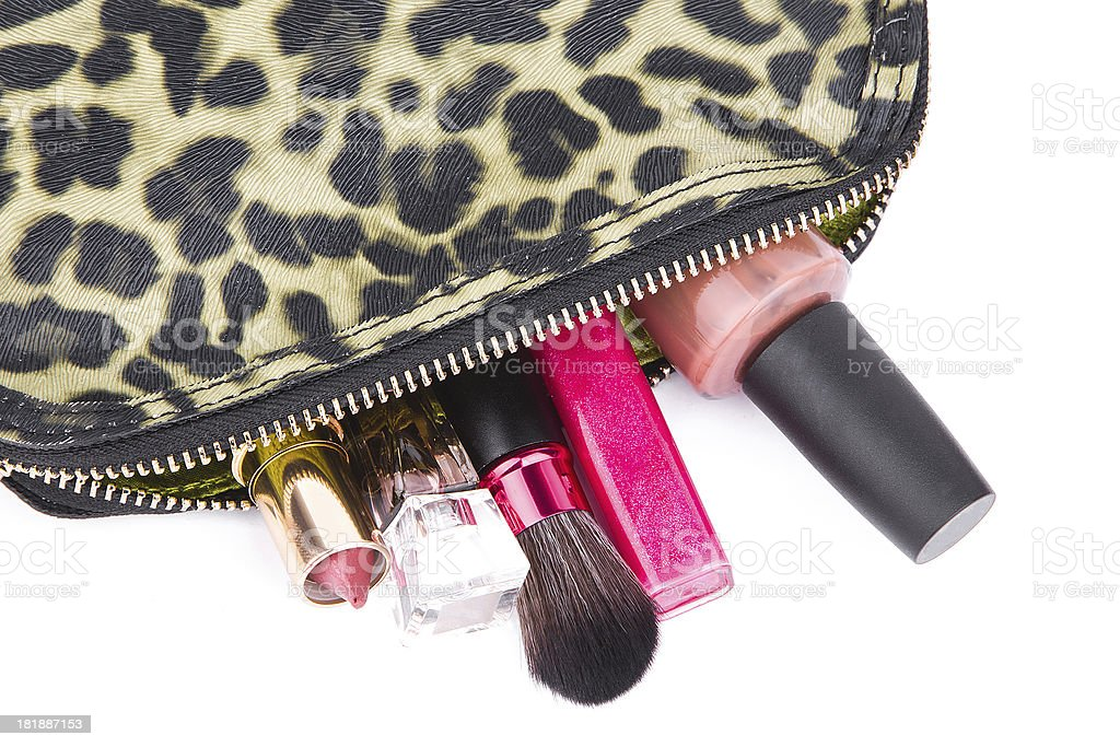 Cosmetic bag isolated on whte background royalty-free stock photo