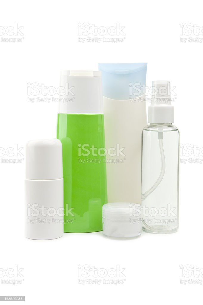 Cosmetic bottles isolated royalty-free stock photo