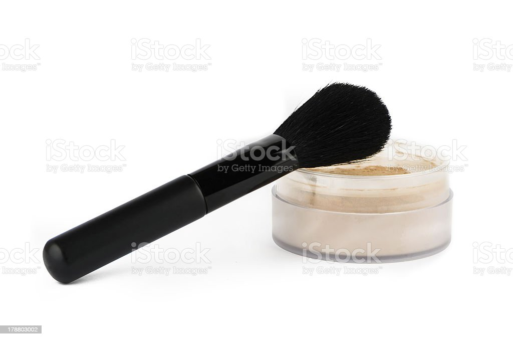 Cosmetic brush and powder royalty-free stock photo