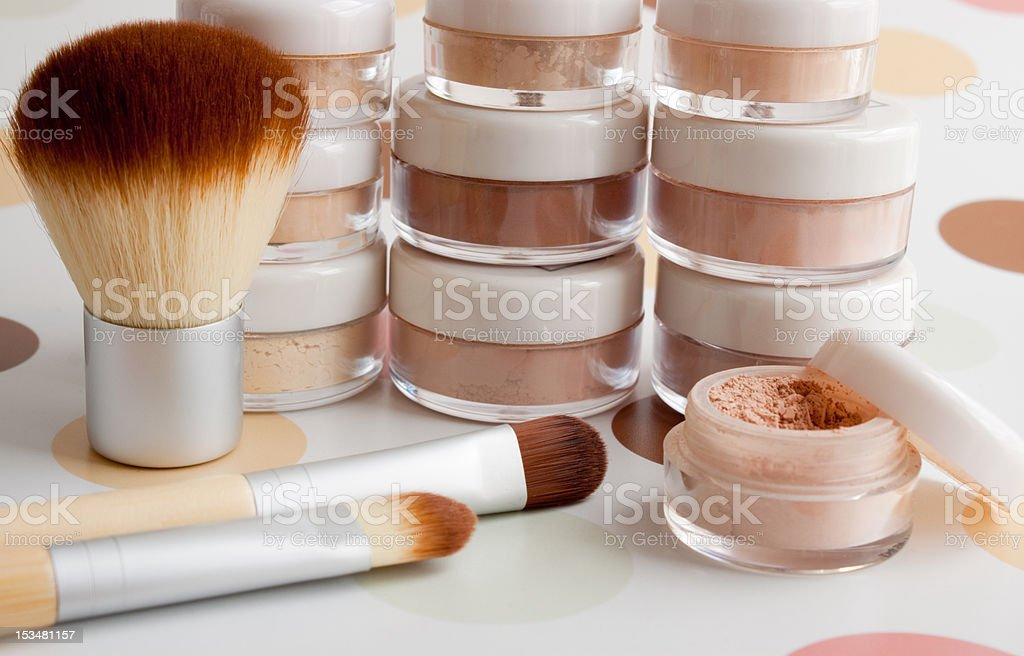 cosmetic brushes and make-up stock photo