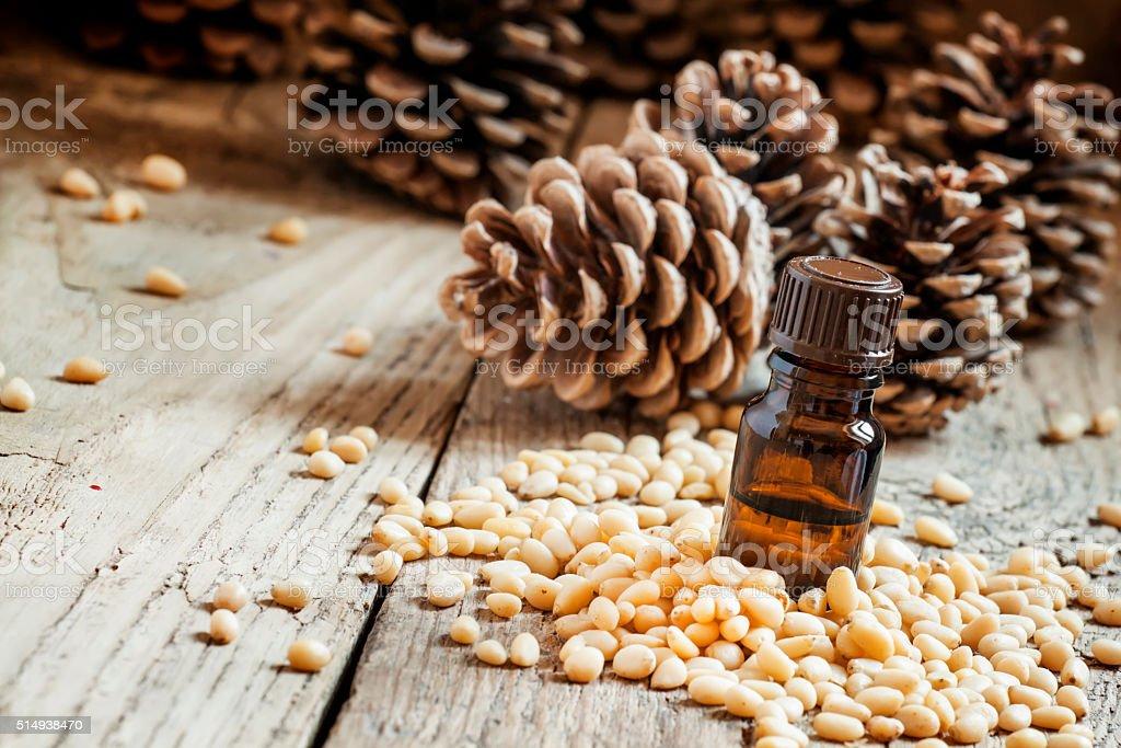Cosmetic cedar pine oil stock photo