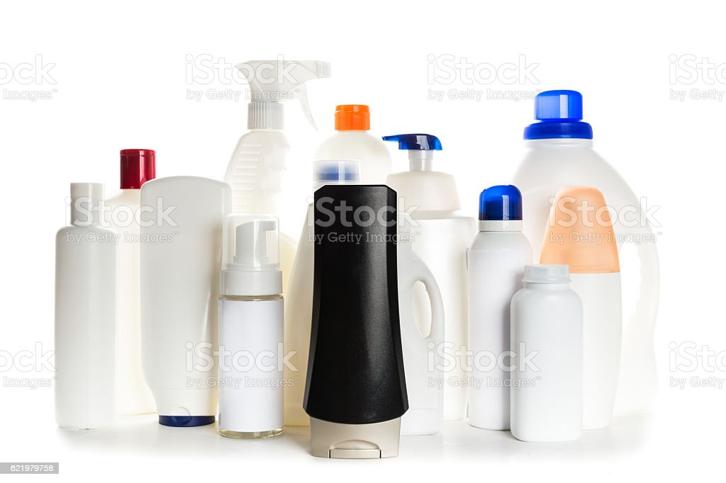 Cosmetic containers on white background stock photo