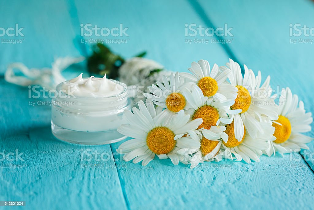 Cosmetic cream with camomile flower for a body and face stock photo
