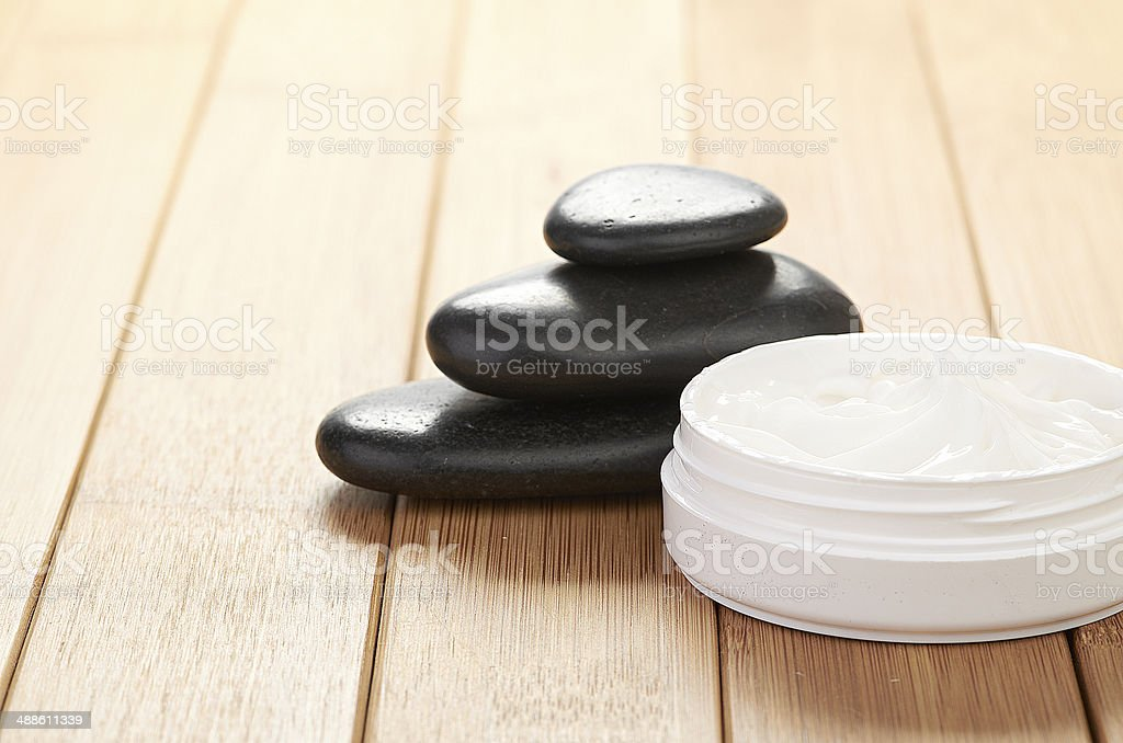 cosmetic cream with herbal flower royalty-free stock photo