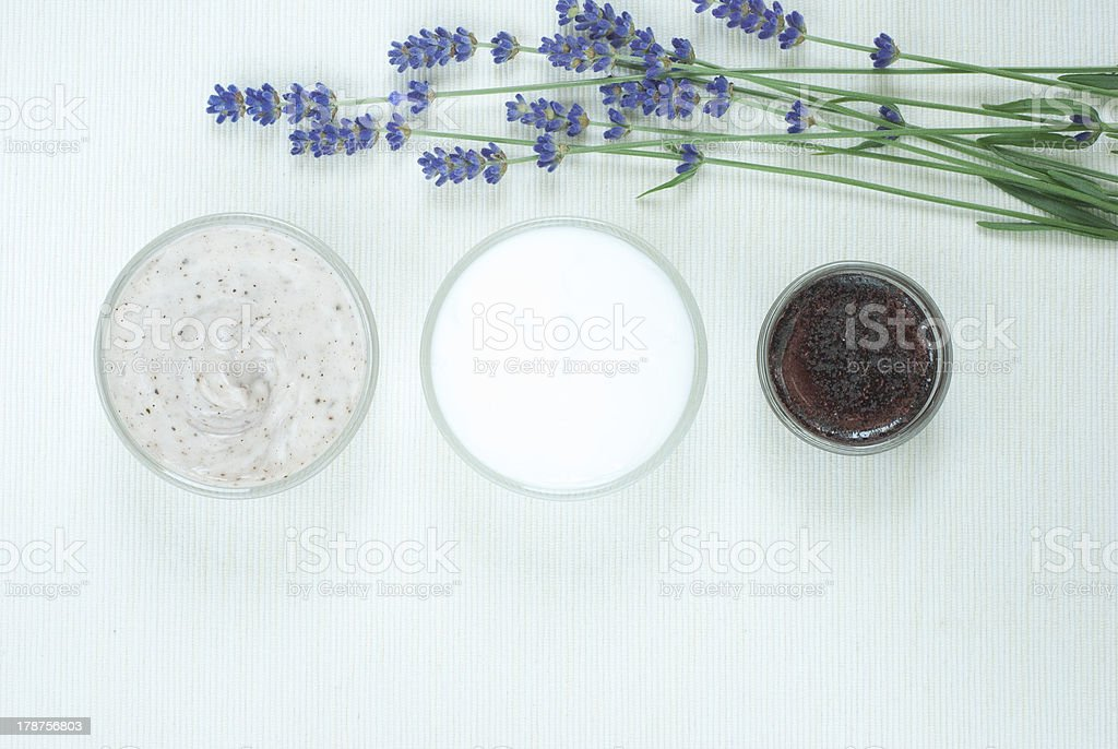 Cosmetic creams, lavender flowers royalty-free stock photo