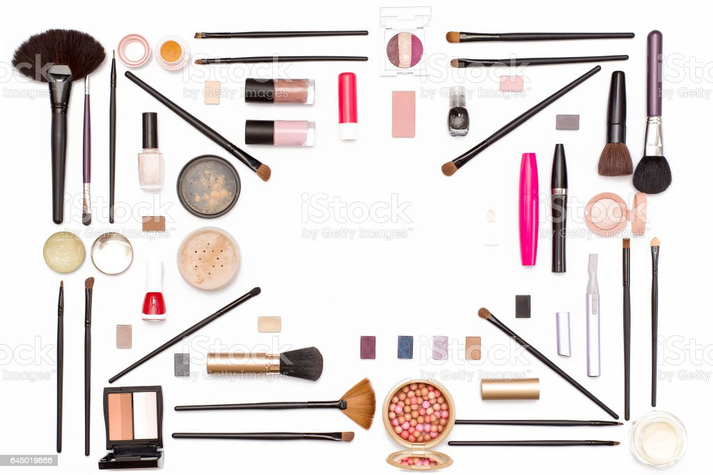 cosmetic makeup: eye shadow, brushes, mascara, powder and other accessories for women. stock photo
