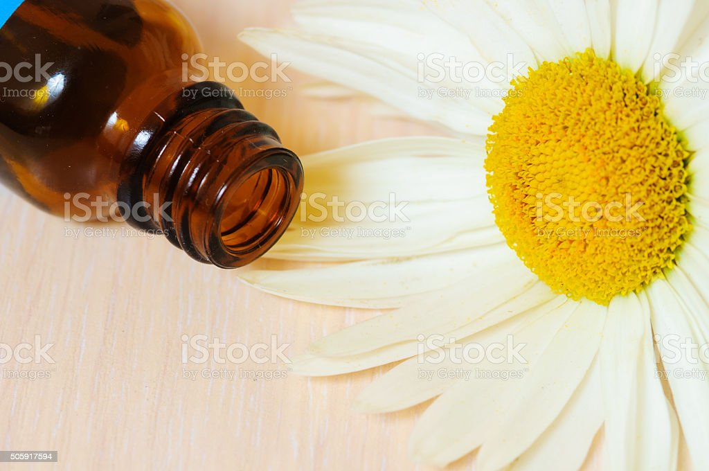 Cosmetic oil and  daisy stock photo
