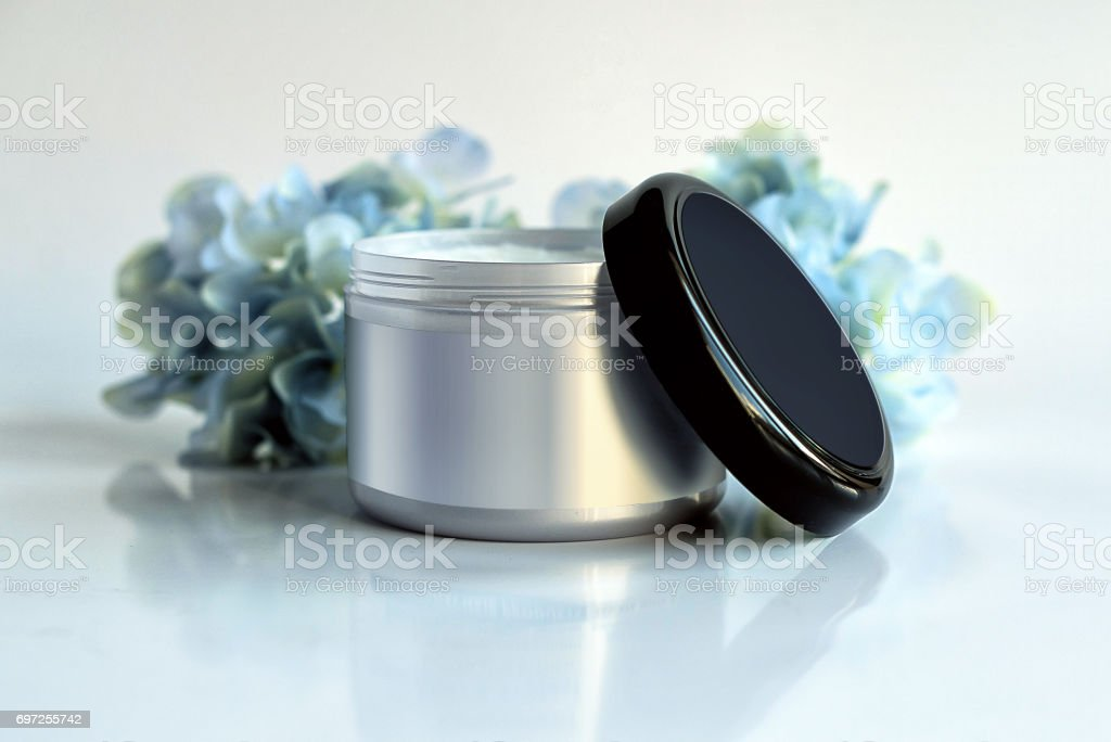 Cosmetic packaging product for cream template with blue hydrangea