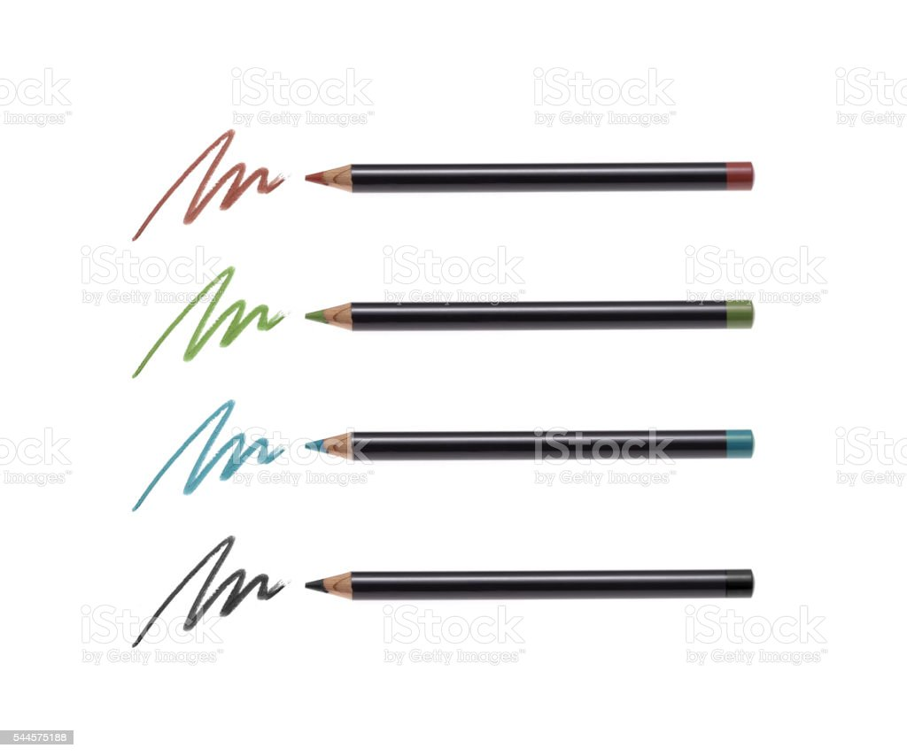 Cosmetic pencils and strokes stock photo