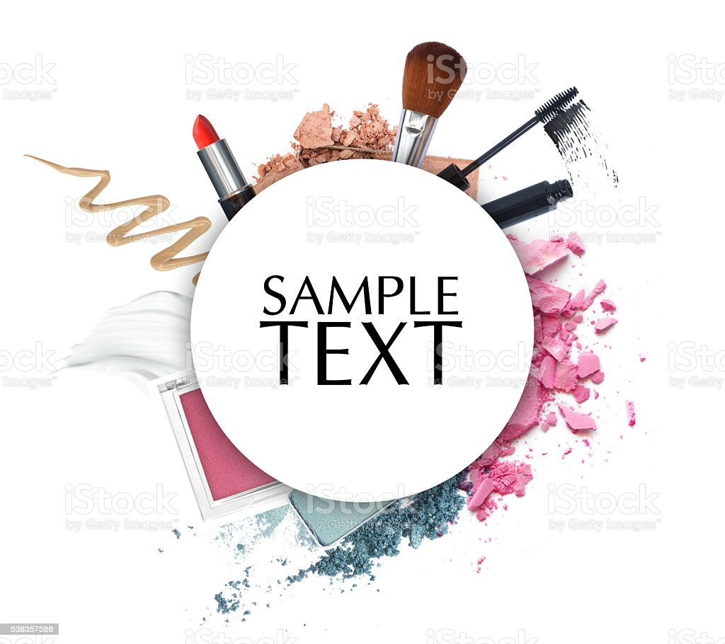 cosmetic promotion circle frame stock photo