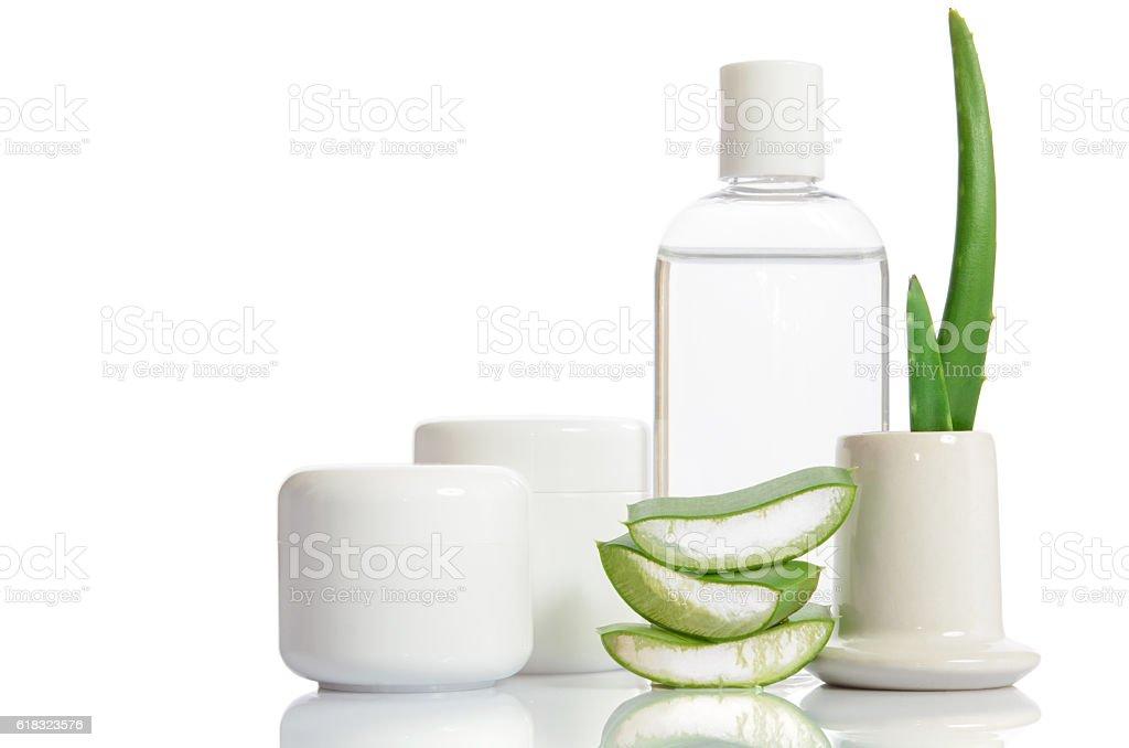 cosmetic set from organic aloe vera isolated on white stock photo