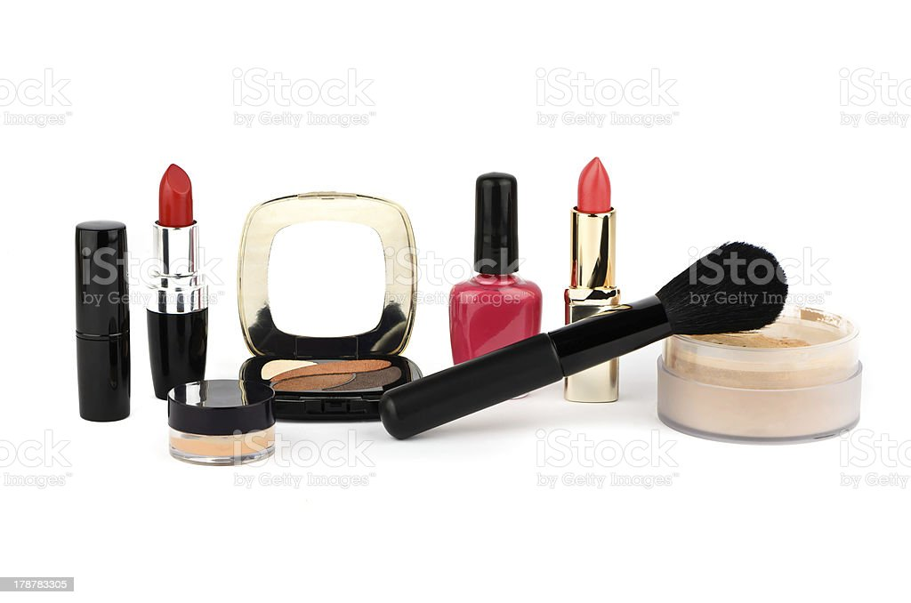 Cosmetic set on a white background royalty-free stock photo