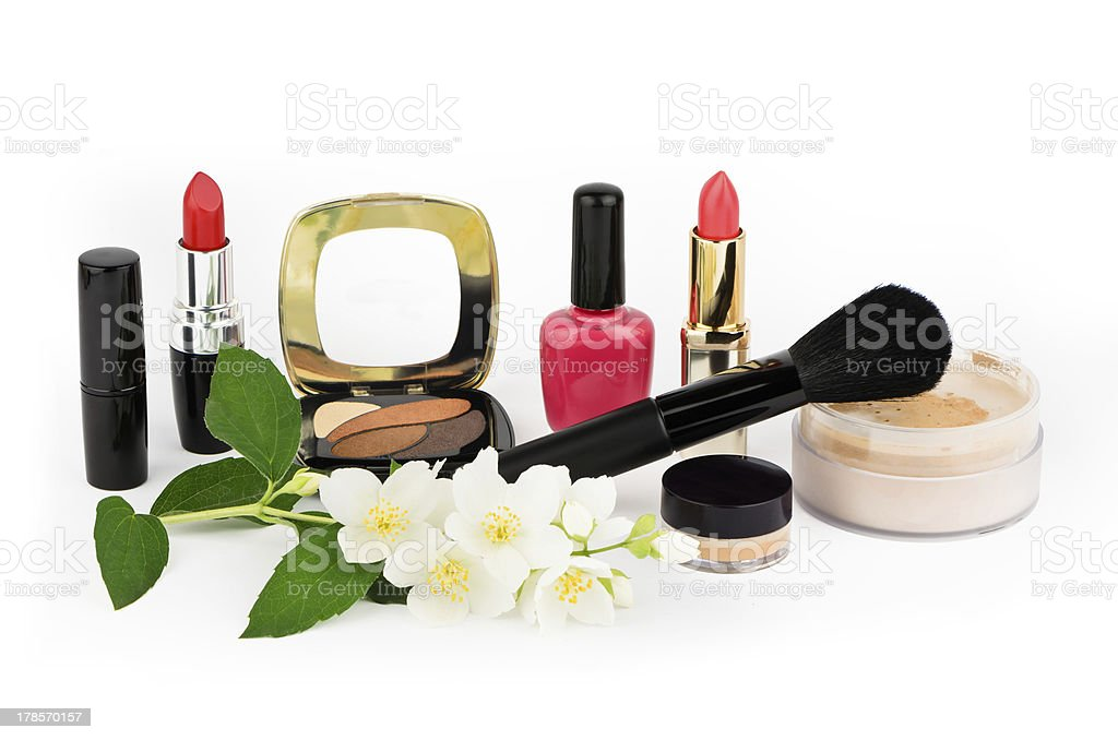 Cosmetic set on white background royalty-free stock photo