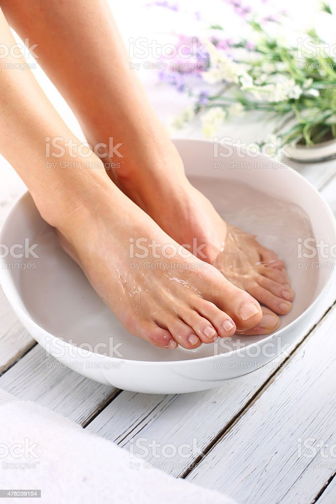 Cosmetic treatment, pedicure stock photo