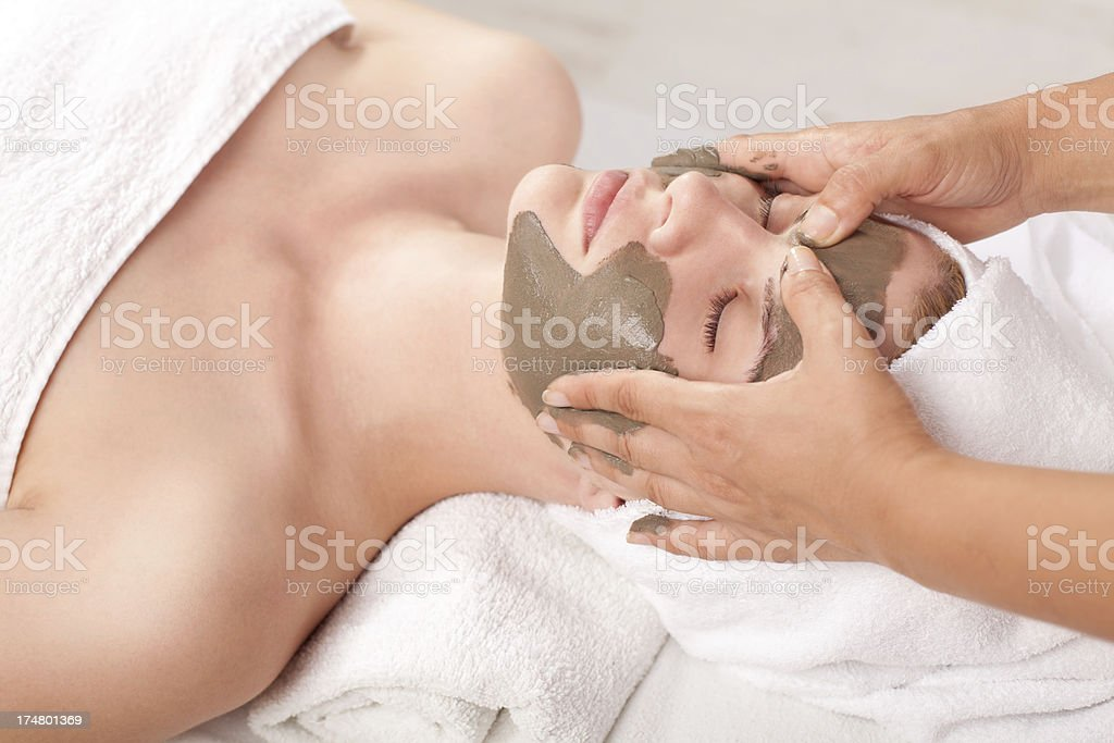 Cosmetic treatment with medicinal mud stock photo