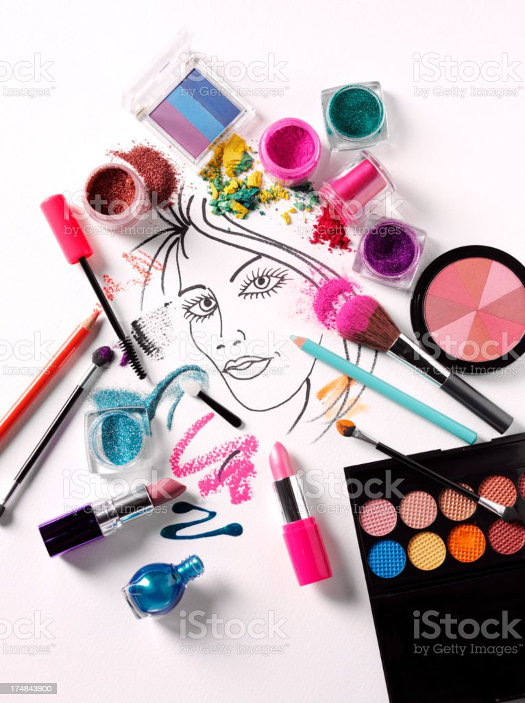 Cosmetics and a Ladies Face royalty-free stock photo