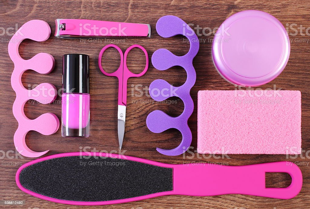 Cosmetics and accessories for manicure or pedicure, nail care stock photo
