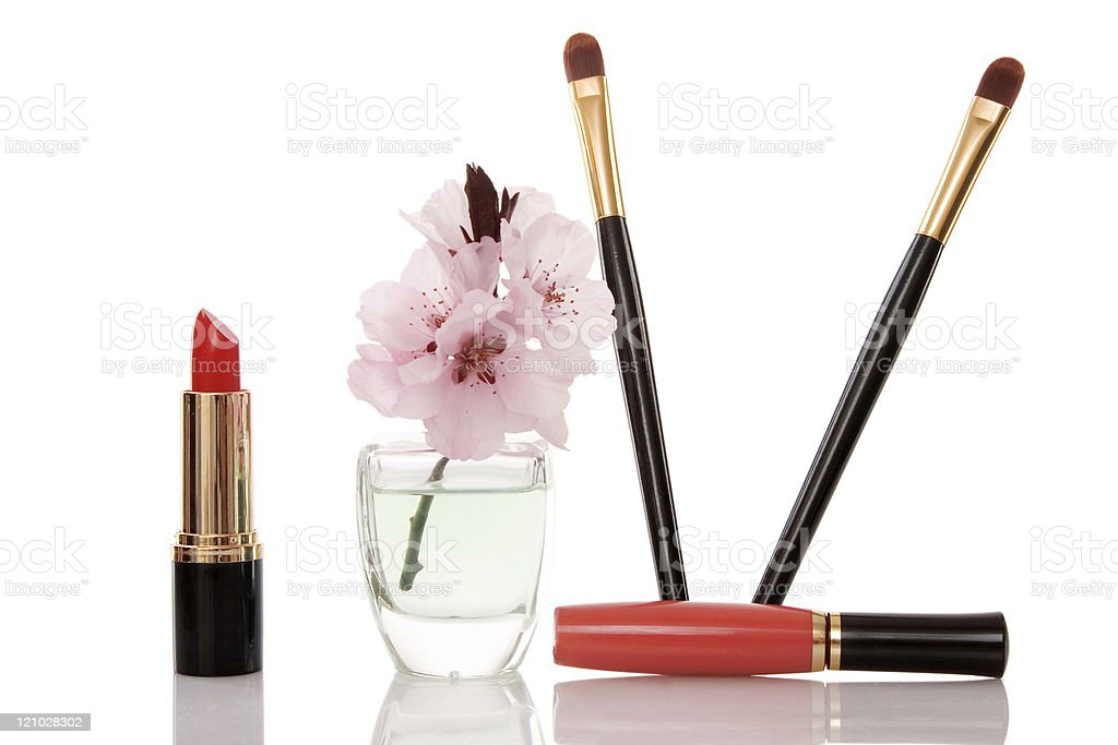 cosmetics and cherry flower royalty-free stock photo