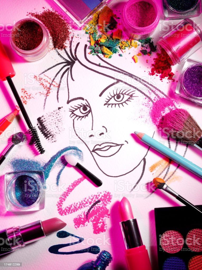 Cosmetics and Face in Pink royalty-free stock photo