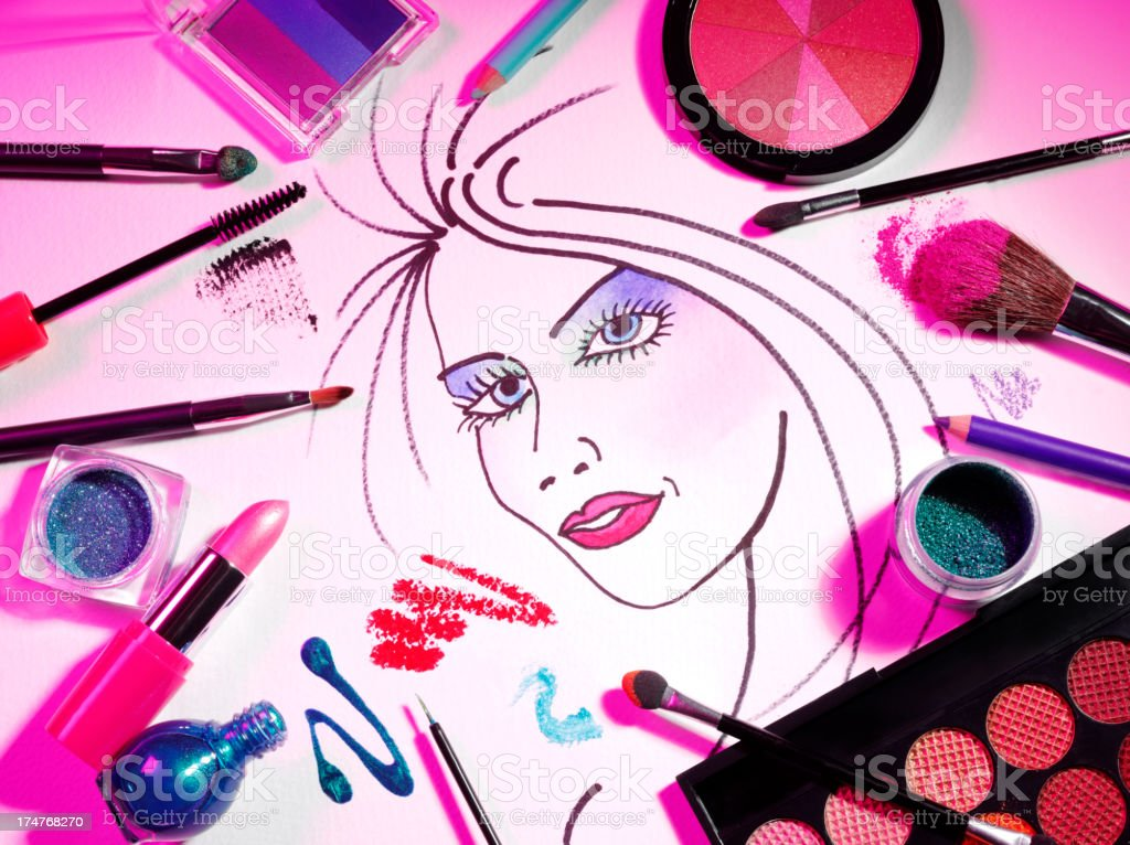 Cosmetics and Make Up on a Sketched Ladies Face stock photo