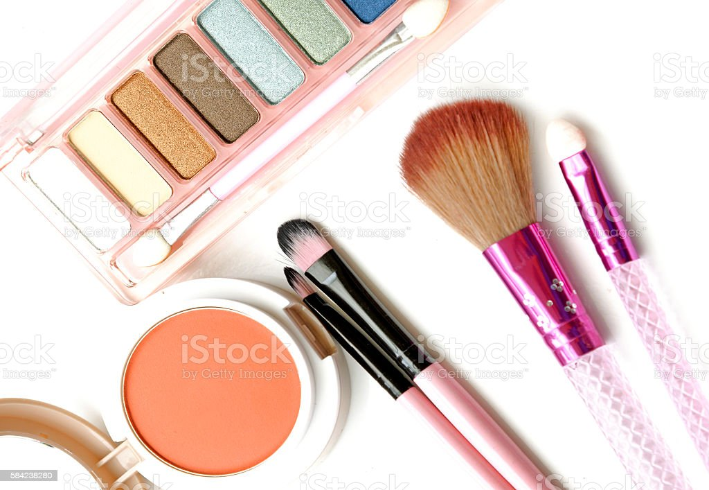 cosmetics and makeup top view. On a white background stock photo