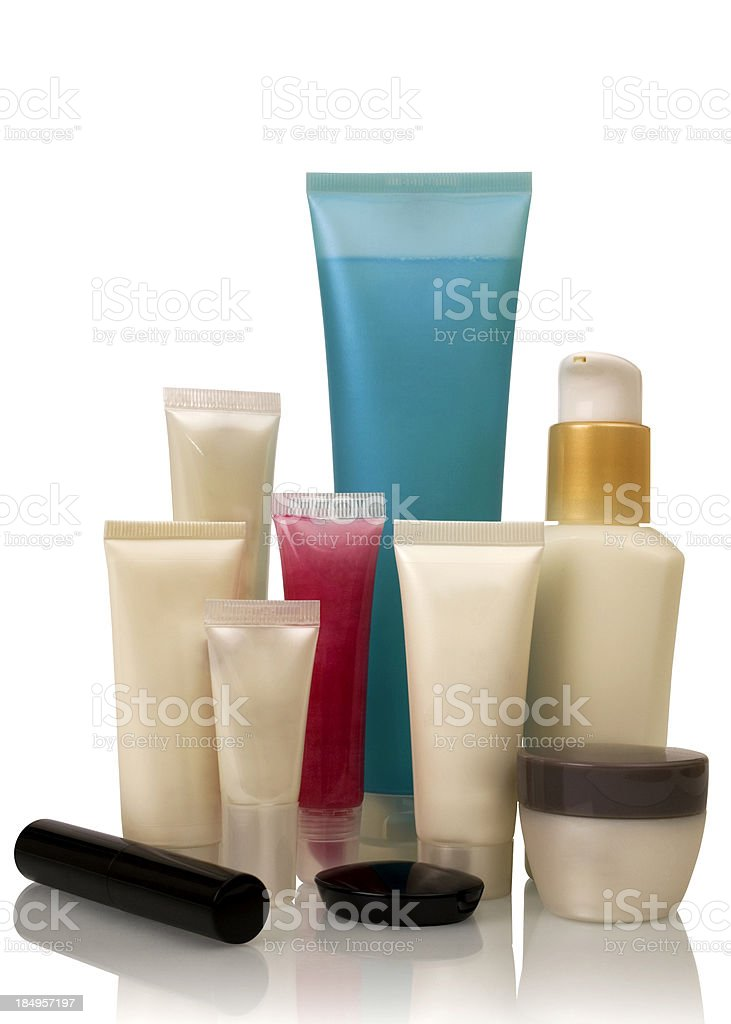 Cosmetics bottles (with clipping path) royalty-free stock photo