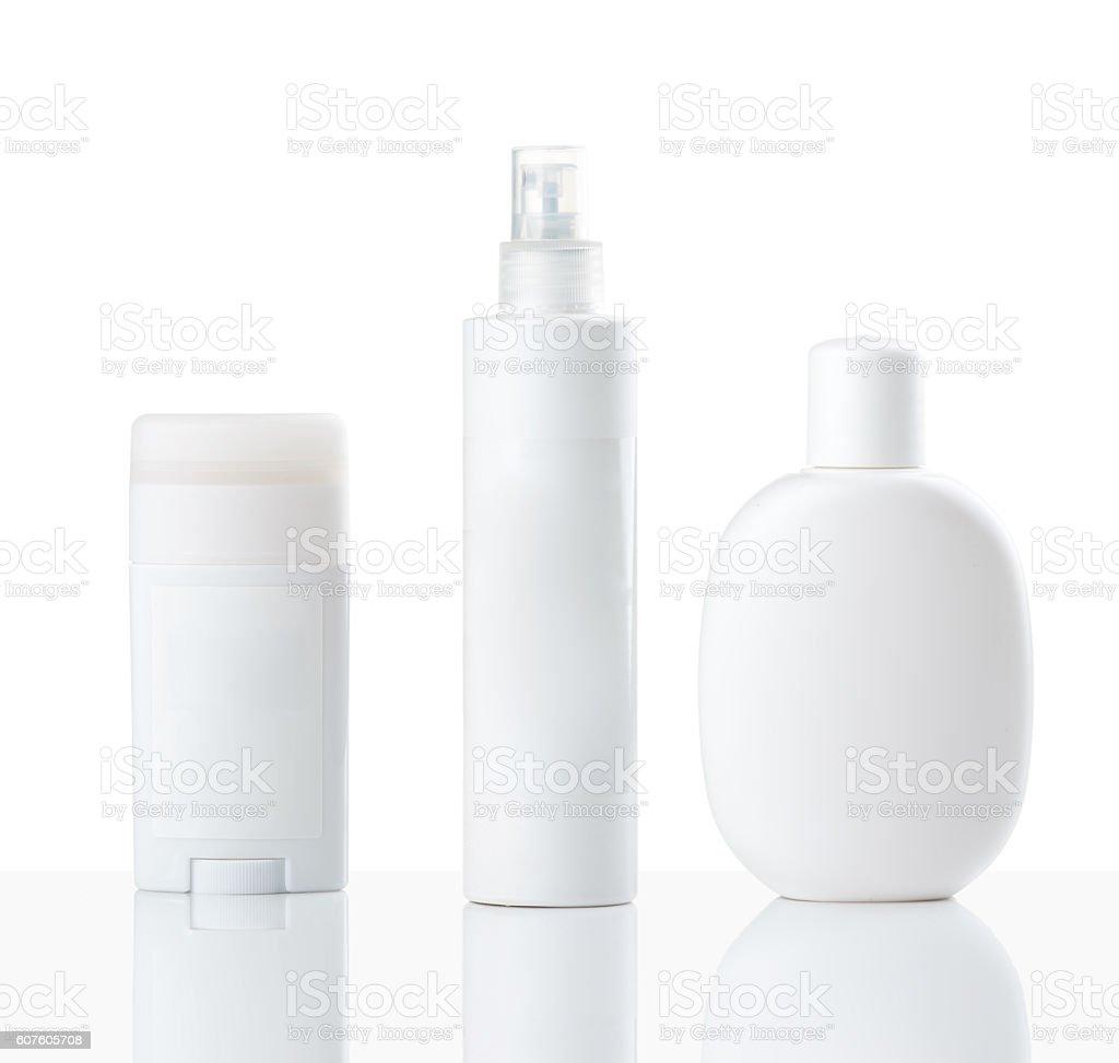 Cosmetics bottles stock photo