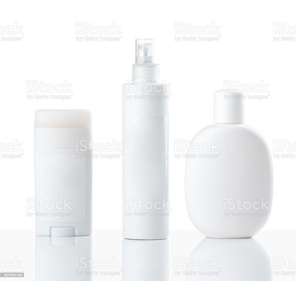Cosmetics bottles stock photo