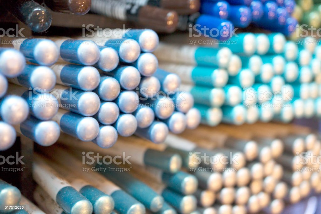 cosmetics close-up pencils color palette stock photo