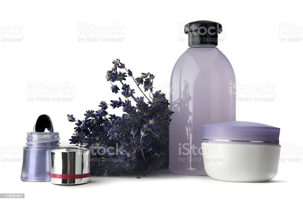 Cosmetics: Eyeshadow, Lavender, Moisturizer and Soap royalty-free stock photo