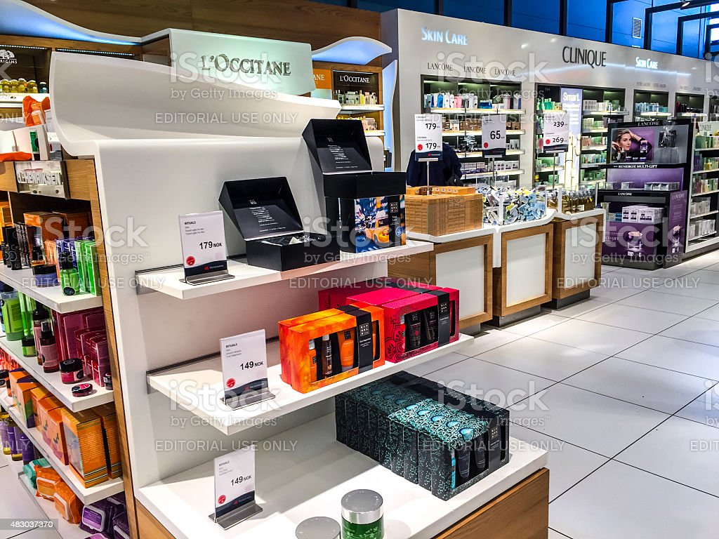 Cosmetics in Duty Free Shop at Oslo Airport, Norway stock photo