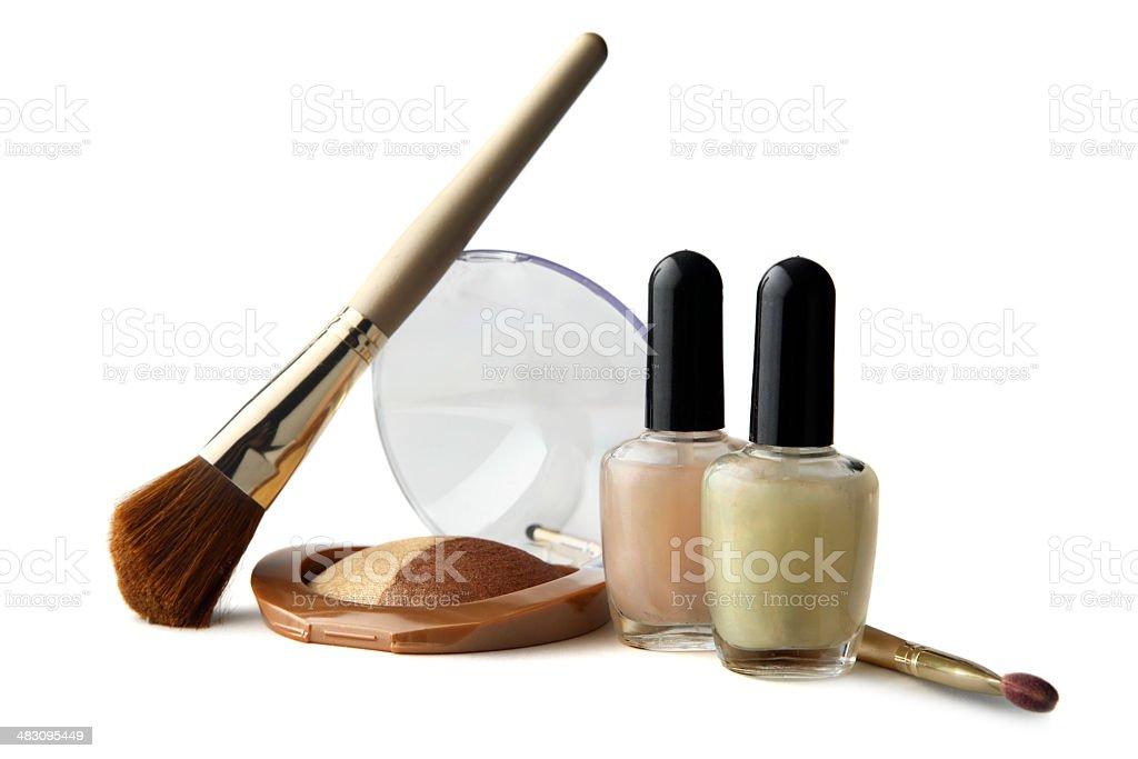 Cosmetics: Nail Polish, Eyeshadow and Brushes royalty-free stock photo