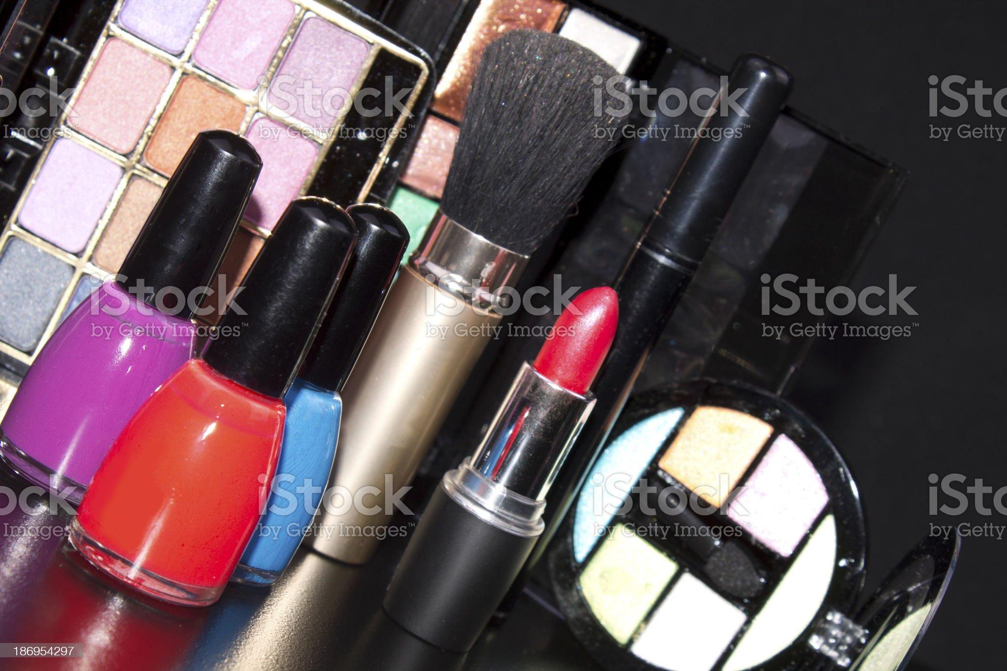cosmetics on black background royalty-free stock photo