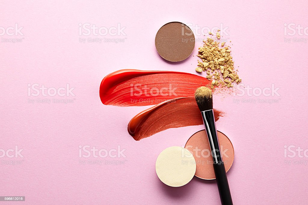 cosmetics on pink stock photo