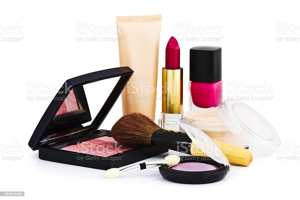 Cosmetics on white background stock photo