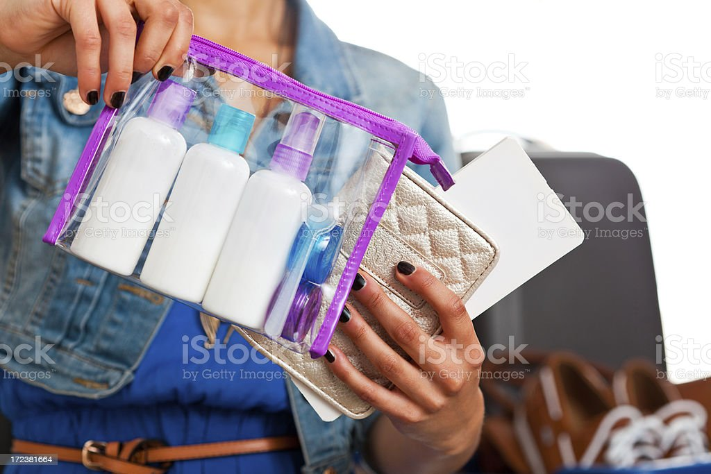 Cosmetics permitted in hand luggage royalty-free stock photo