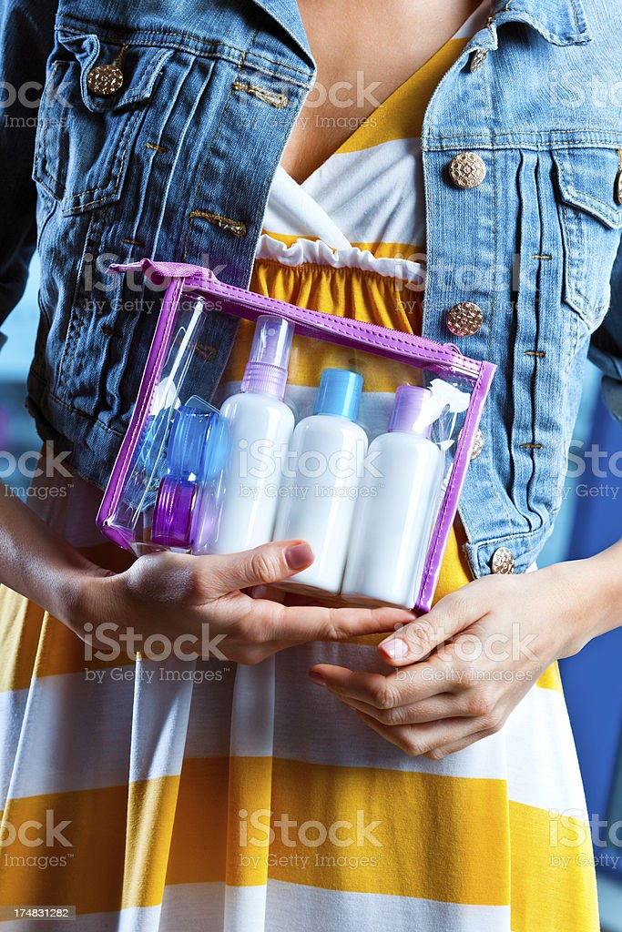 Cosmetics permitted in hand luggage stock photo